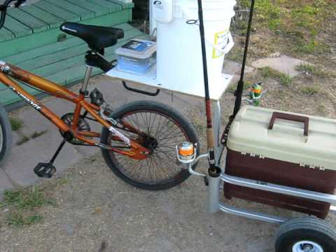 Fishing rig bike youtube for Homemade fishing cart