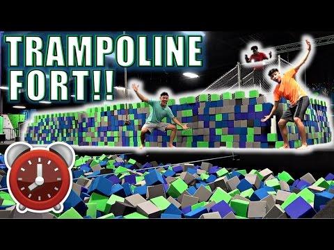 24 HOUR OVERNIGHT CHALLENGE IN TRAMPOLINE PARK!!(*EPIC FOAM FORT*)!!