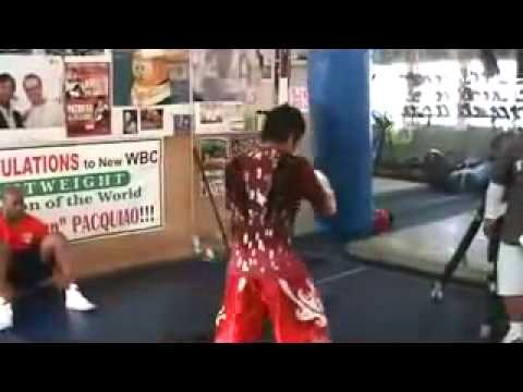 Manny Pacquiao Training On a Pro Boxing Equipment Heavy Bag Image 1