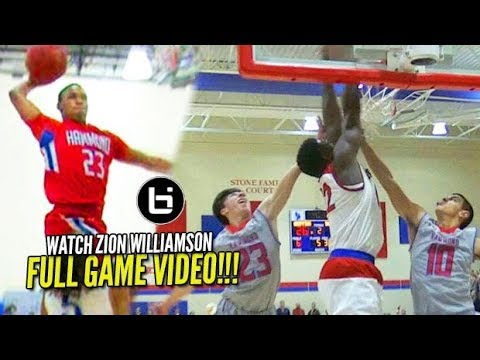 Zion Williamson FULL GAME vs Seventh Wood's Old High School [Spartanburg Day vs Hammond]