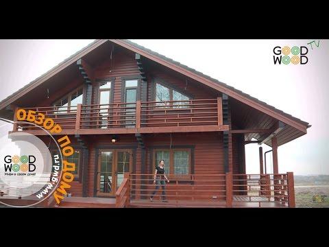 Деревянный дом с террасами. Клееный брус, проект СП-300.