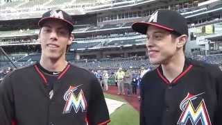 Christian Yelich meets his twin -- SNL