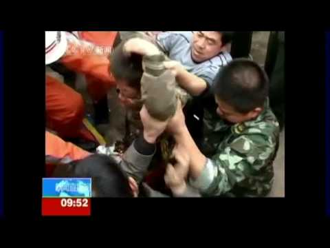 ITV News China 7 year old boy rescued from pipe