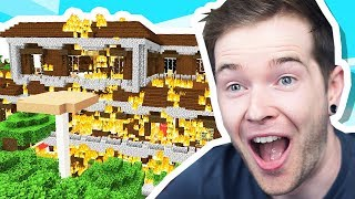I BURNED DOWN a Woodland Mansion in Minecraft Hardcore!