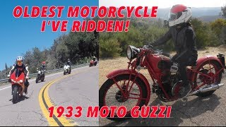 1933 Moto Guzzi : Vintage Motorcycle up Palomar Mountain : GakiMoto Meet-Up USA