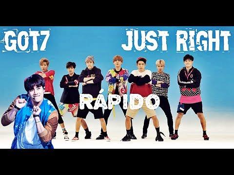 Got7 Just Right pero cada vez que dice frases en inglés y cambia de cantante va más rápido.