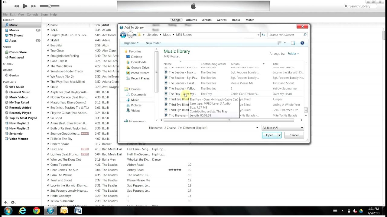 how to change ituns to mp3 files