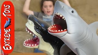 """Great White Shark Causes Trouble for Ethan! """"Awesome Jaws Shark Toy"""""""