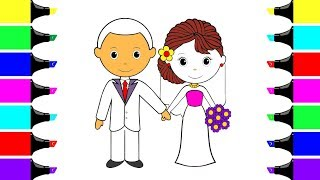 Little Bride and Groom Coloring Page - Youtube Videos for Children - Coloring Book for Kids