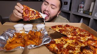 Pizza & Hot Wings MUKBANG