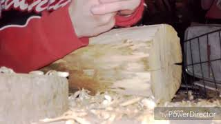 working with a chisel in wood