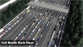 Rush Hour traffic at the Toll Booths - Cities Skylines: Custom Builds