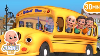 The Wheels on the Bus - Animal Song | Ten in Bed | Best baby songs by Jugnu Kids