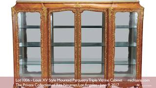 Louis XV Style Mounted Parquetry Triple Vitrine Cabinet at Michaan's Auctions