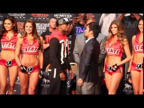 FLOYD MAYWEATHER v MANNY PACQUIAO - INTENSE HEAD TO HEAD & FACE OFF @ FINAL PRESS CONFERENCE / MAY 2