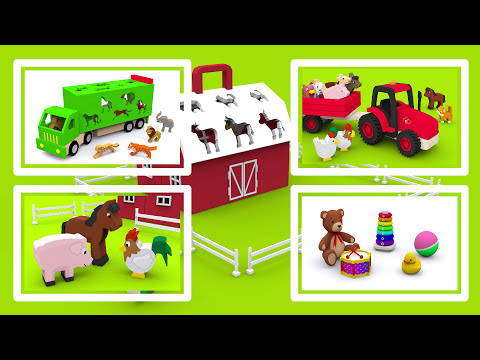 Farm animals and their sounds for children babies toddlers. Learn 12 farm animals in English!