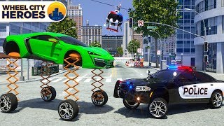 Police Car Sergeant Lucas cathing Car with Spring Wheels   Wheel City Heroes (WCH)   New 3D Cartoon