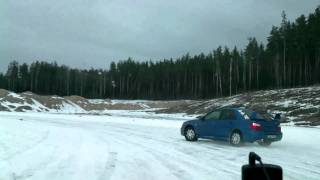 Slalom for fun with Subaru  on ice. Nr6. Catch if you can