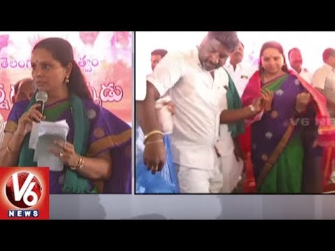 MP Kavitha And MLA Jeevan Reddy Launches Rythu Bandhu Scheme At Mamidipally Village | Nizamabad | V6