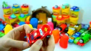 Play Doh Masha and the Bears Thomas & Friends Cars Unboxing Surprises Eggs