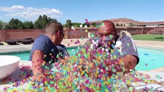 Giant Orbeez Balloon Experiment Cutting Open in Hot Tub! What Happens?!