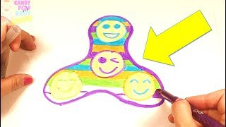 Learn Art l How To Draw and Color Fidget Spinner l Kids Drawing GIANT Fidget Spinner Coloring Videos