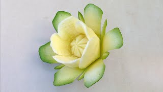 The Art Of Vegetable Carving Zucchini Flower - Beginners Lesson 67 By Mutita Fruit Carving Tutorial