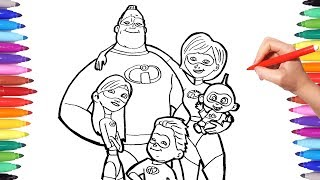 INCREDIBLES 2 Coloring Pages | Coloring Mr Incredible Elastigirl Violet Flash Jack | The Incredibles