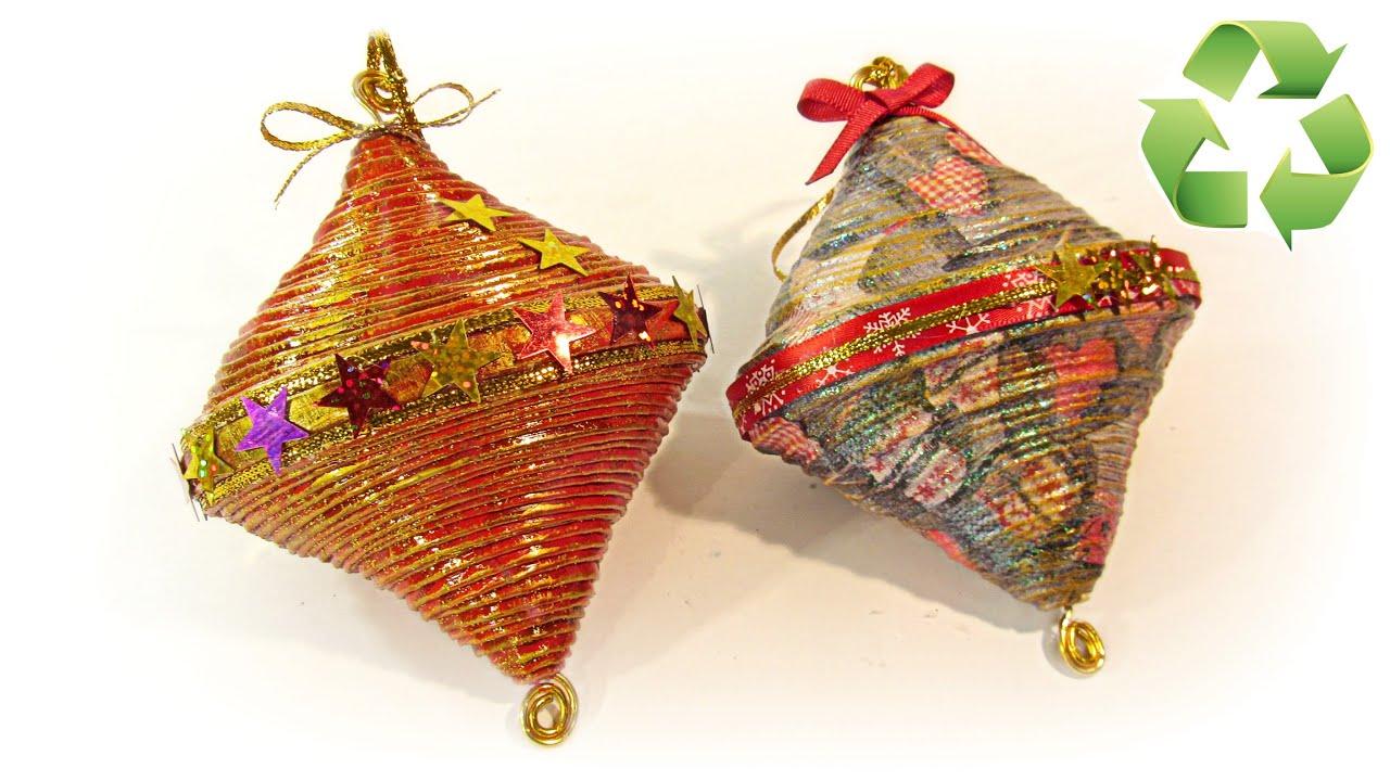 C mo hacer adornos de navidad reciclados recycled ornaments youtube - Adornos navidad reciclados para ninos ...