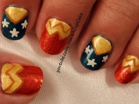 Wonder Woman Inspired Nail Art
