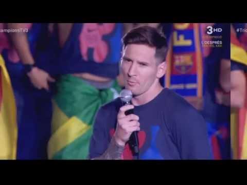 Palabras de Leo Messi en la celebración del triplete