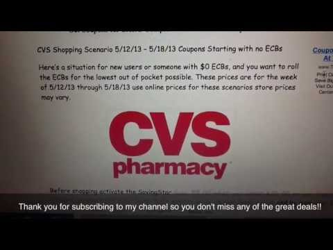 CVS Shopping Scenario 5/12/13 -- 5/18/13 Coupons Starting with no ECBs