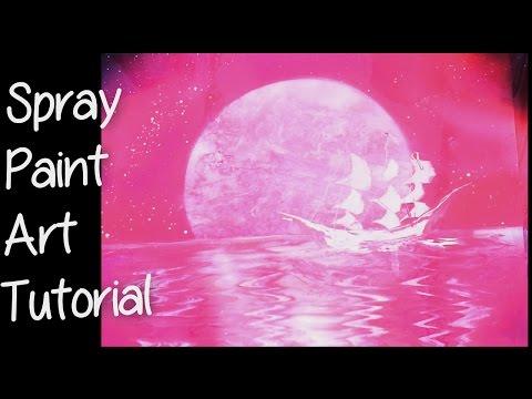 SPRAY PAINT ART - Moon Boat. Boot Onder De Maan Tutorial
