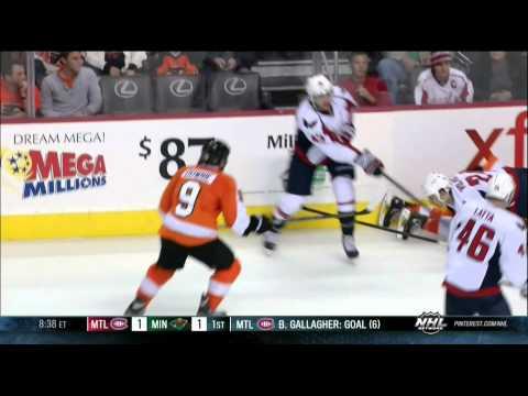 Steve Downie vs Aaron Volpatti fight Washington Capitals vs Philadelphia Flyers 11/1/13 NHL Hockey.