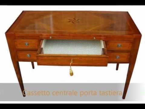 Scrittoio scrivania classica in stile da ufficio attrezzata per pc con ribaltina per tastiera