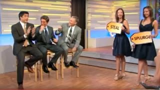 David Muir, Josh Elliot and Sam Champion on GMA Steal or Splurge