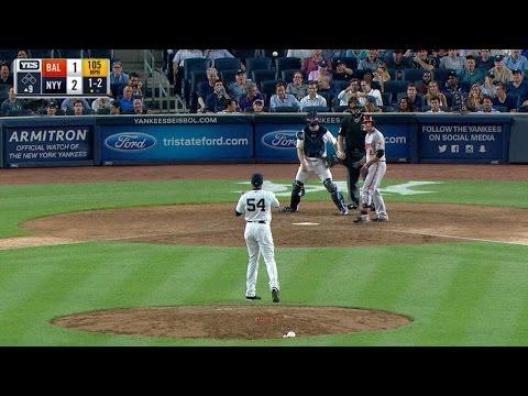 BAL@NYY: Chapman throws 105-mph pitch