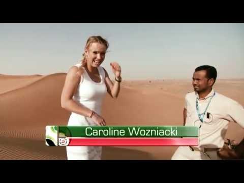 Caroline Wozniacki Tries Sand Boarding In Dubai