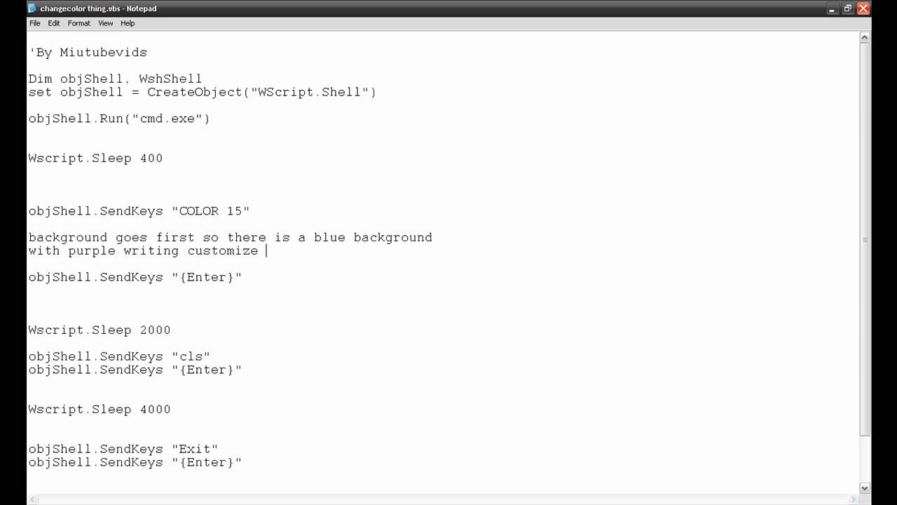 how to make notepad have colours