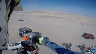 Download 100ft Dirt bike dune jump landed onto Jeep wrangler hood 3Gp Mp4