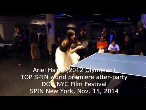 Ariel Hsing - TOP SPIN film world premiere table tennis exhibition - Meniscus Magazine
