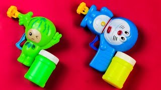 LEARN COLORS WITH BUBBLES for kids! Doraemon and Watermelon Bubble Gun Toys for Children