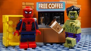 Lego Spiderman And Hulk Brick Building - Coffee Maker   Stop Motion   Cartoon For Kids
