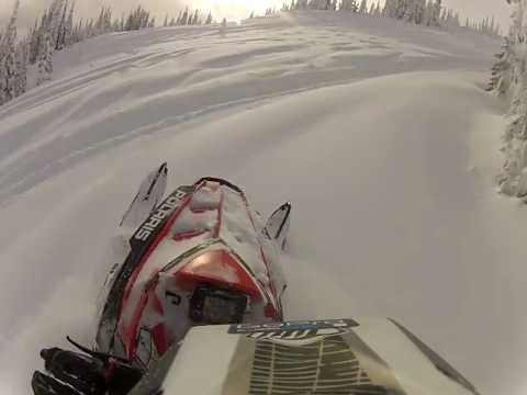 polaris pro rmk in the deep pow of revelstoke bc