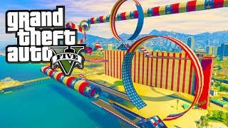 GTA 5 - CREATING THE BEST STUNT RACE! (EARLY GTA 5 STUNT RACE CREATOR GAMEPLAY WITH MODS)
