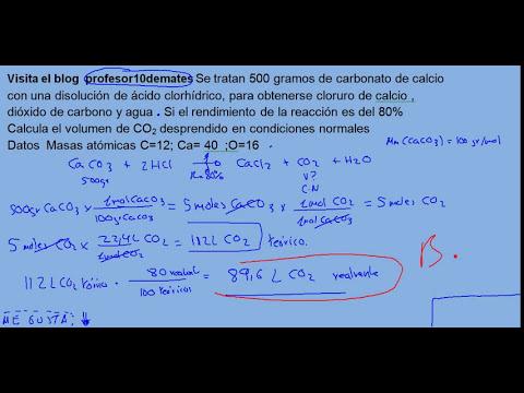 Reacciones químicas  con rendimiento de la reacción 02 ejercicio