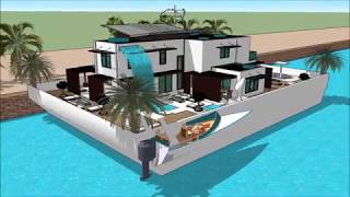 SIMS 5 BUILDING A MANSION CONCEPT   FLOATING HOUSE BOAT ON THE OCEAN  Luxury Yachting Design  Exhibi