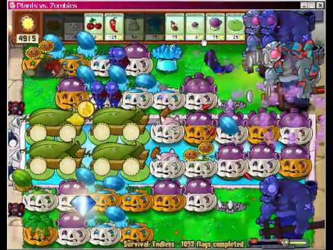 Flags 1052 - 1054 Plants VS Zombies Survival Endless.