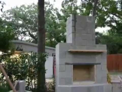 Diy outdoor fireplace youtube for How to build a small outdoor fireplace