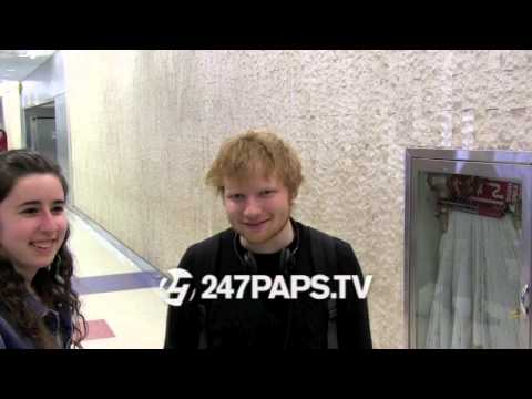 (Exclusive) Ed Sheeran arriving at JFK Airport NYC 04-09-14